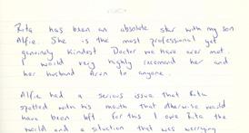 Letter from Natalie & Alfie