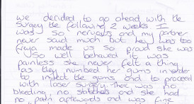 Letter from Roseann & Danny O'Leary